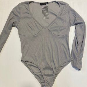 3 / $25! ✰ PrettyLittleThing Grey Ribbed Body Suit